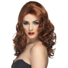 Womens 50s 60s 70s Auburn Glamorous Wig Long Wavy Fashion Pin Model Fancy Ginger