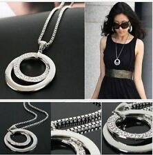 Long Chain Women Fashion Crystal Rhinestone Silver Plated Pendant Necklace Gift
