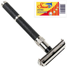 Parker 96R Double Edge Butterfly Open Safety Razor & 5 Shark Blades