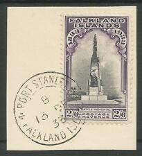 FALKLAND IS SG135 THE1933 GV CENTENARY 2/6d SUPERB USED ON PIECE  13TH DEC 1933