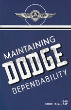 1940 Dodge Car Owners Manual D14 D17 Owner Guide Book Maintaining Dependability