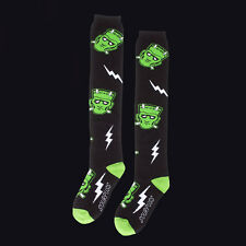 "SOURPUSS 17"" MONSTERS KNEE HIGH SOCKS. FRANKENSTEIN. GOTHIC HORROR LONG LENGTH."