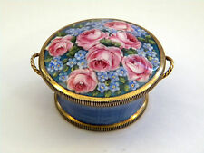 ANTIQUE SILVER & ENAMEL TRINKET BOX 1911 IMPORT MARK (FLOWER BASKET)