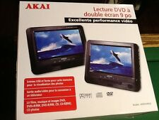 "NEW AKAI 9"" DUAL SCREEN PORTABLE DVD CD PLAYER 12 VOLT AC DC POWER  CAR DVD play"