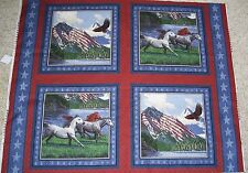 4 Horses Eagle Patriots Point Pillow Panels Fabric Cotton Wildlife US Flag