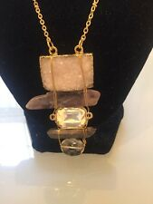 NWOT Purples White Druzy Crystal Drop Gold Statement Necklace Anthropologie