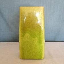 Antique 19th Chinese pottery VASE Earthenware Yellow Green Monocrome Glaze