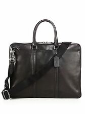 $760 COACH Mens SLIM Business Briefcase WORK TRAVEL BLACK BRIEF LEATHER BAG