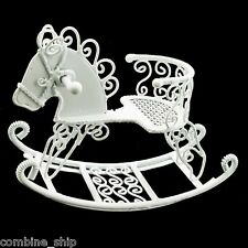 White Wire Nursery Toddler Rocking Horse 1:12 Doll's House Dollhouse Miniature