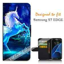 Samsung Galaxy S7 EDGE Wallet Flip Phone Case Cover Y00001 Unicorn Magic