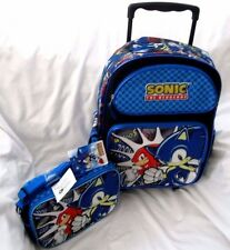"Sonic the Hedgehog Whoos Zoom 16"" Rolling Backpack + Sonic&Friends Lunchbox Set"