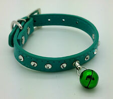 XS GREEN BELL GEM STRASS CANE COLLARE GEM CHIHUAHUA PUPPY Yorkie