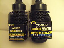 2 Conair Carbon Smooth Barrel Brush Fast Drying AntiStatic Straightens Shines