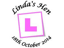70 Personalised Hen Party Stickers L Plate 3 FOR 2 Sticker Lables Night Out