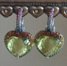Simply Divine Artisan Hand Made Citrine Heart Shaped Ombre Gemstone Earrings 14K