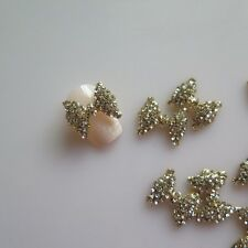10pcs Big Crystal Rhinestone Gold Bow Metal Deco Charms Nail Art MD-773