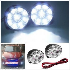 2pcs Round 12V 9 LED Car DRL Daytime Running Driving Flood Beam Fog Work Light