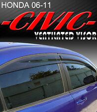 Smoke 06-11 Civic Sedan Window Visor Vent Shade Rain/Sun/Wind Guard Deflectors