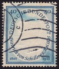 GERMANY 1955 Schiller 40pf Mi#210 USED - blue stain @E984