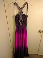 Hailey Adrianna Papell Ombre Beaded Prom Dress Size 4 Violet Fuchsia Halter