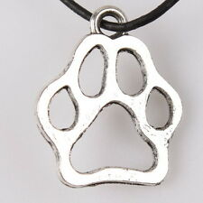 40pcs ON SALE Vintage Silvery Tone Smooth Hollow Dog Paw Alloy Pendants Lots J