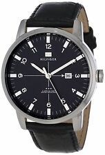 Tommy Hilfiger Original 1710330 Men's Stainless Steel Black Leather Watch 44mm