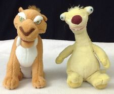 "Ice Age SID The Sloth & Diego Saber TY 2009 Beanie Baby 8"" Dawn of the Dinosaurs"
