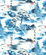 Scenic Landscape:  Blue Asian Japanese Quilt Fabric -1/2 Yd.