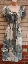 G21 KHAKI GREEN CREAM FLORAL GYPSY BOHEMIAN RARE SKATER FLIPPY VTG DRESS 12 M