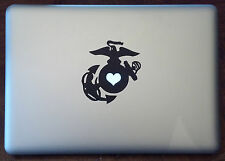 EGA Heart Vinyl Sticker Decal Macbook Pro window laptop USMC Marine Wife Girl