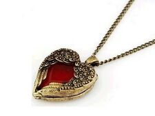 Pendentif vintage Collier coeur rouge et ailes d'anges antique bronze red heart
