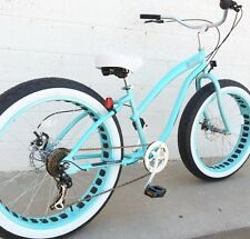 Fat Tire Beach Cruiser Bike ��   Sikk 7 SPEED- Tiffany Teal- Ladies - SIKK
