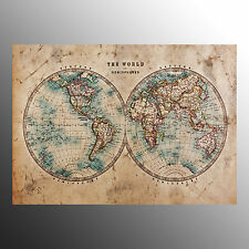 Canvas Prints For Decoration Wall Art Canvas Two Sides World Map-No Frame