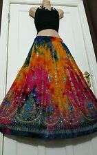 Ladies Boho Hippie Gypsy Long Sequin Skirt Rayon TIE DYE Assorted clrs frsz