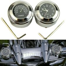 7/8'' 1'' Motorcycle Bike Handlebar Mount Dial Clock Thermometer Temp for harley