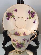 Vtg Tea Cup Saucer Set Stanley Bone China England Demi Violet Demitasse