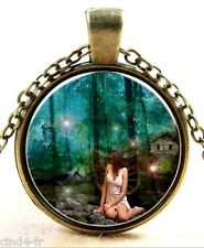 Médaillon Vintage Fantasy + Chaine bronze /Medallion +Chain necklace/ Fairy, Fée