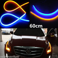 2x 60cm 12V LED Light Blue Amber Flexible Tube Switchback Headlight DRL Signal