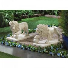 Lot of 2 Lion Statue Outdoor Driveway Garden Decor - New