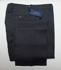 NEW Polo Ralph Lauren Slim Fit Dark Gray Flat Front Wool Trouser Dress Pants 36