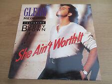 """GLENN MEDEIROS / BOBBY BROWN - SHE AIN'T WORTH IT Vinyl 12"""" UK90 Hip Hop LONX265"""