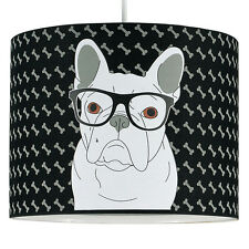 French Bulldog Fabric Drum Shade Pendant Table Lamp or Ceiling Light Dog