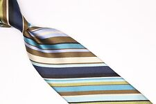 Missoni Silk Necktie Blue Teal Brown Blue Gloss Textured Candy Stripe