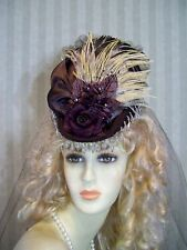 Steampunk Hat Victorian Mini Riding Hat BrOwn Civil War Hat 1800s style Hat Tea