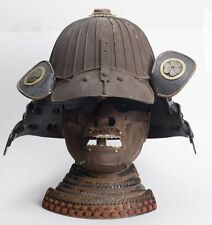 20TH CENTURY JAPANESE SAMURAI HELMET + MASK + WOOD STAND HELMET