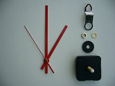 CLOCK MECHANISM QUARTZ EXTRA LONG SWEEP SPINDLE. 130mm RED BATON HANDS