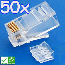 50x Real Cat6 Cat.6 GigaSpeed RJ45 Plug for AMP/Krone/Systimax/Belden UTP 50µ