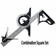 "12"" 300mm Combination Square & Protractor Adjustable Measure Measuring Set New"