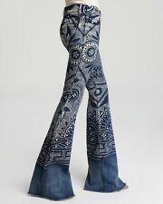 Free People Discharge Bali Flare Printed Boho Festival Blue Denim Jeans 27