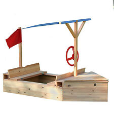 Garden Games Sand Sailor Sandpit Wooden Boat Sandbox for Sailers or Pirates
